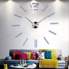 95d3123ae Big Wall Clock Rushed Mirror Quartz Wall Clocks real big wall clock rushed  mirror wall sticker DIY living room home decor fashion watches arrival  Quartz ...