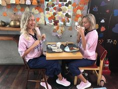 Lisa and Lena at the 'Poop Cafe' in Seoul