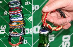 """Show your team spirit with these paracord bracelets. Perfect for local team, college or professional sports fans!  Bracelet measures 8"""" when closed. Each bracelet is made from paracord that can be undone in an emergency AND has a handy bottle opener attachment."""