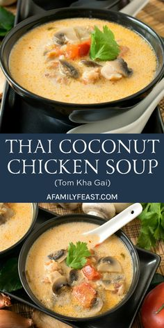 This Thai Coconut Chicken Soup (also known as Tom Kha Gai) is a classic Thai soup with a delicious and distinctive flavor. Soup Appetizers Soup Appetizers dinners carb Soup Appetizers Appetizers with french onion Chicken Coconut Soup, Thai Coconut Soup, Thai Soup, Coconut Soup Recipes, Soup With Coconut Milk, Spicy Thai Chicken Soup, Chicken Dips, Milk Recipes, Shrimp Recipes