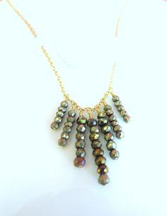 Pyrite gold fringe necklace African style fringe by KBlossoms