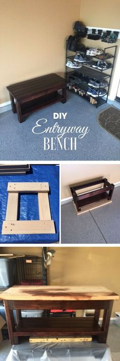Check out how to make a DIY wooden entryway bench from 2x4s @istandarddesign