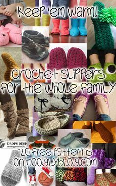 Don't let them get cold feet! 20 free crochet slipper patterns to make this winter at mooglyblog.com!