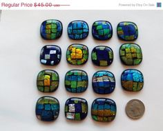 Welcome to All Fired Up Studio! 15 dichroic cabochons in variety of awesome blues: each cab has layers and layers of dichroic glass fused as one with Color Wow, Tile Crafts, Dichroic Glass, Turquoise Bracelet, Wire, Beads, Pendant, Unique Jewelry, Handmade Gifts