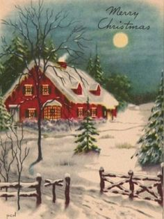 "Listening to ""Winter Wonderland"" right now, I love it so much! Old Time Christmas, Christmas Card Images, Beautiful Christmas Cards, Vintage Christmas Images, Old Fashioned Christmas, Christmas Scenes, Christmas Past, Retro Christmas, Christmas Pictures"
