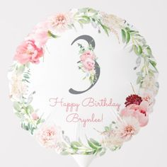 Shop Blush Floral Pink Stripe Birthday Balloon created by PoshPaperCo. Photo Balloons, Girl Birthday Decorations, Balloon Shapes, Custom Balloons, Third Birthday, Pink Watercolor, Birthday Balloons, Pink Stripes, Pink Flowers