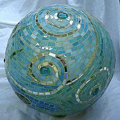 gazing ball - beautiful spiral pattern - from a bowling ball