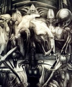 ' Acclaimed Swiss surrealist H. R. Giger, creator of the terrifying life forms and their otherworldly environment in the film classic ALIEN, for which he received the Oscar in 1980. Painter, sculptor, designer, interior architect, Giger extends his artistic vision into all domains. Fundamental to the nature of his work is his Biomechanical aesthetic, a dialectic between man and machine, representing a universe at once disturbing and sublime. '