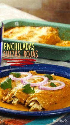 Pork Recipes, Mexican Food Recipes, Chicken Recipes, Cooking Recipes, Chicken Snacks, Good Food, Yummy Food, Food Tasting, Enchiladas