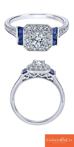 Gorgeous 14k White Gold Diamond And Sapphire Halo Engagement Ring by Gabriel & Co. Propose to the love of your life with this unique and beautiful engagement ring! Find your local Gabriel & Co. retailer on our website www.gabrielny.com!