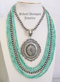 Schaef Designs Multi strand turquoise heishi & sterling silver charm necklce | Schaef Designs bridle rosette, denim lapis & turquoise Southwestern & Native American jewelry | New Mexico