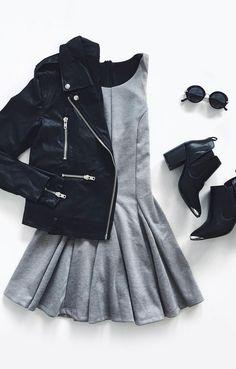 Sugar and Sass Heather Grey Dress Dress Outfits, Fall Outfits, Casual Outfits, Fashion Outfits, Womens Fashion, Fashion Trends, Hipster Outfits, Fashion Pics, Dress Fashion