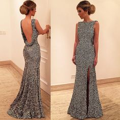 Sexy Floor Length Prom Gown - Dark Silver Backless Scoop Sequins with Split Side,Glamorous prom dress, Grad Dresses Long, Sequin Prom Dresses, Backless Prom Dresses, Mermaid Prom Dresses, Ball Dresses, Sequin Dress, Dresses 2016, Dress Prom, Gown Dress