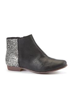 black ankle booties with a pop of sparkle.