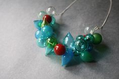 Glass Blown Necklace  Glass Bubbles  Lightweight by LikeAGlassShop