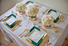 teal and gold wedding - Google Search