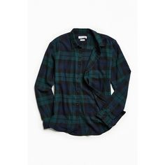 UO Plaid Flannel Button-Down Shirt ($49) ❤ liked on Polyvore featuring men's fashion, men's clothing, men's shirts, men's casual shirts, mens plaid button down shirts, mens double layer t shirt, urban outfitters mens shirts and mens tartan shirt