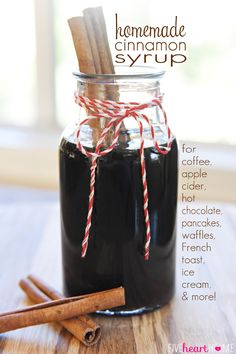 Homemade Cinnamon Syrup is perfect for creating an all-natural copycat of Starbucks' Cinnamon Dolce Latte or Caramel Apple Spice Cider. Spiced Apples, Caramel Apples, Pancakes And Waffles, Chocolate Pancakes, Hot Chocolate, Pancakes Cinnamon, Pumpkin Pancakes, Homemade Chocolate, Starbucks Cinnamon Dolce Latte