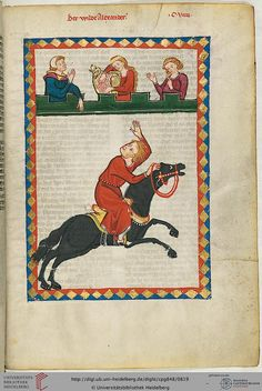Buchmalerei Zürich: The wild Alexander / Manesse. , Canvas on Stretcher, Framed Picture, Glass Print and Wall Paper. Medieval Horse, Medieval Art, Medieval Manuscript, Illuminated Manuscript, Uni Heidelberg, Legend Of King, High Middle Ages, Viking Age, Historical Art