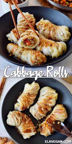 Tasty Vegetarian Recipes, Vegan Dinner Recipes, Veggie Recipes, Whole Food Recipes, Cooking Recipes, Healthy Recipes, Yummy Vegan Recipes, Vegetarian Asian Recipes, Cooked Cabbage Recipes