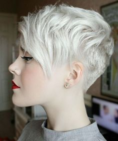 Short Blonde Pixie With Layered Bangs