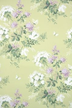 Vintage Wallpaper For Sale, Hannah's Treasures sells authentic vintage wallpaper from the through the This floral wallpaper with flowers and butterflies is so pretty with its purple and chartreuse colors! Vintage Wallpaper Patterns, Victorian Wallpaper, Pattern Wallpaper, Wallpaper For Sale, Old Wallpaper, Best Flower Wallpaper, Beautiful Wallpaper, Antique Phone, Cute Wallpapers