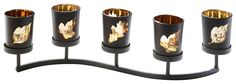 Artikeldetails:  Modischer Kerzenhalter, Mit fünf Teelichthaltern mit Blatt Verzierung,  Maße:  Maße (B/T/H): 42/11/11 cm,  Material/Qualität:  Aus Metall und Glas,  Wissenswertes:  Lieferung ohne Kerzen.,  ...