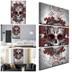 Interesting Wall Art, Home Decor Discount Outlet Red Home Decor, Home Goods Decor, Cheap Wall Art, Unique Wall Decor, 3 Piece, Canvas Wall Art, Gothic, Gallery Wall, Skull