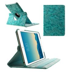 Javu - iPad Mini 3 - Rotatie Cover Hoes Bloemenstructuur Turquoise | Shop4Tablethoes.nl