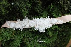 Handmade Vintage Style Satin & Lace Fabric Flowers with by LAmei