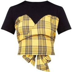 Yellow Check Wrap Front T Shirt ❤ liked on Polyvore featuring tops, t-shirts, wrap front top, beige top and beige t shirt