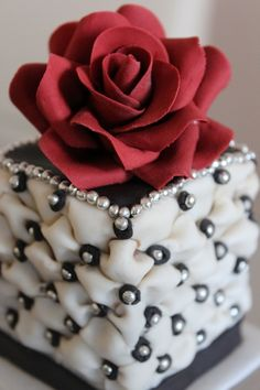 I absolutely love the ivory/black combination with a bold red rose and so I tried it out on a mini cake. TFL :)