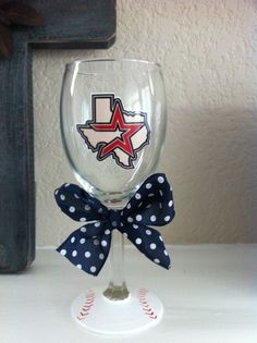 Astros wine glass $15     made by taylor b    http://www.etsy.com/listing/99313587/houston-astros-wine-glass