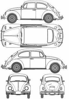 1967 Volkswagen Beetle 1200 Type 1 Sedan blueprint - Marine And Land Vehicles Volkswagen New Beetle, Vw T1, Volkswagen Golf, Jaguar Cars, Beetle Drawing, Orthographic Drawing, Orthographic Projection, Bmw Concept, Car Illustration