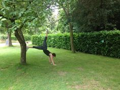 yoga helps to connect with nature. plank one leg