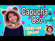 Capucha de oso con cuello tejida a crochet | TODAS LAS TALLAS - YouTube Balaclava, Crochet For Kids, Crochet Yarn, Knitted Hats, Knitting, Youtube, Collection, Bonnets, Album