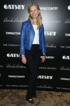 Karolina Kurkova rocking the blue biker