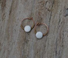 Mother of Pearl Shell Hoop Earrings Copper Brass Wire Wrapped Handcrafted Small Boho Wire Woven Jewelry