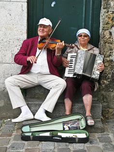 Street musicians, France. -- Do what you love in life and you'll stay forever young!