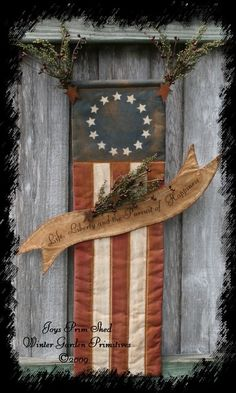 Primitive Americana Flag Hanger with Banner e-Pattern