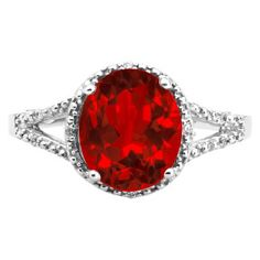 Simple Oval Cut Ruby Diamond White Gold Ring For Women Available Exclusively at Gemologica.com