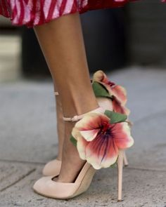 These floral heels are just about the prettiest shoes we've ever seen on the street during fashion week.