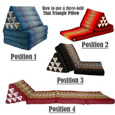 Thai triangular cushion to seating to mattrass
