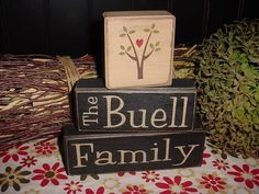 Personalized Last Name Established Date Wedding Anniversary Shower House Warming Gift Wood Sign Blocks Primitive Country Rustic Home Decor. $28.95 USD, via Etsy.
