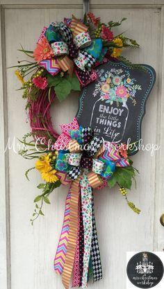 Spring wreath summer wreath Grapevine by MrsChristmasWorkshop Wreath Crafts, Diy Wreath, Grapevine Wreath, Diy Crafts, Wreath Ideas, Summer Wreath, 4th Of July Wreath, Spring Wreaths, Deco Mesh Wreaths