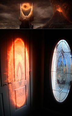 "This door conceals a secret that's only revealed when the sun shines through the glass at a certain angle: ""The Eye"" of Sauron."