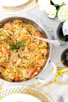 Give the classic a fancy twist with this easy and decadent Champagne Shrimp Scampi recipe that's sure to wow your friends and family! Easy Whole 30 Recipes, Best Pasta Recipes, Seafood Recipes, Cooking Recipes, How To Cook Shrimp, How To Cook Pasta, Shrimp Pasta Dishes, Seafood Dishes, Whole30 Recipes Lunch