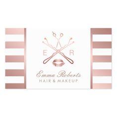 Makeup Artist Hair Stylist Modern Rose Gold Stripe Business Card