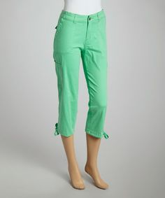 Caribbean Joe Absolute Green Classic Capri Pants - Women | Capri ...