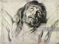 Head of Christ on the cross by Peter Paul Rubens Drawing : Black chalk with red and white highlights on tan paper that was probably once blue. Peter Paul Rubens, Rubens Paintings, Rembrandt Paintings, Anthony Van Dyck, Sir Anthony, Chalk Drawings, Art Drawings Sketches, Pencil Drawings, Caravaggio